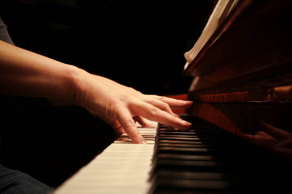 Piano Keyboard and Hands Self-Portrait by Heather Luxion