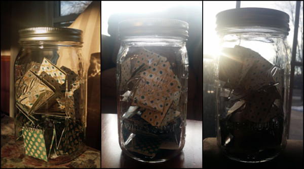 Three images of glass ball canning jar with colorful papers within shown, with sunlight streaming behind